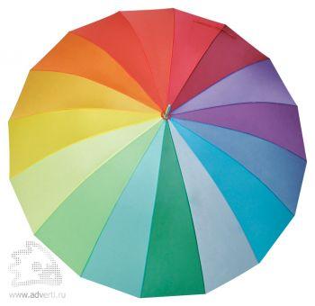 Зонт-трость «Радуга», механический: 16 разноцветных клиньев, дизайн купола