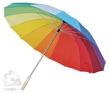 Зонт-трость «Радуга», механический: 16 разноцветных клиньев
