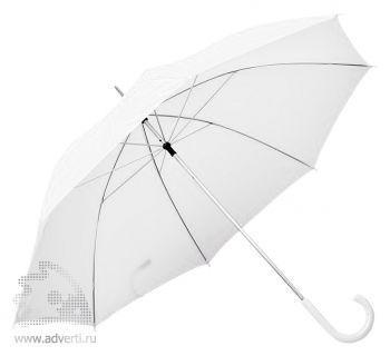 Зонт с пластиковой ручкой, механический, белый