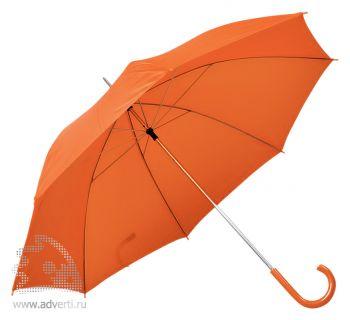 Зонт с пластиковой ручкой, механический, оранжевый
