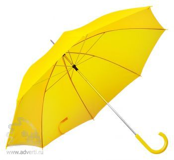 Зонт с пластиковой ручкой, механический, желтый