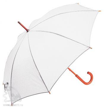 Зонт-трость с деревянной ручкой, полуавтомат, белый