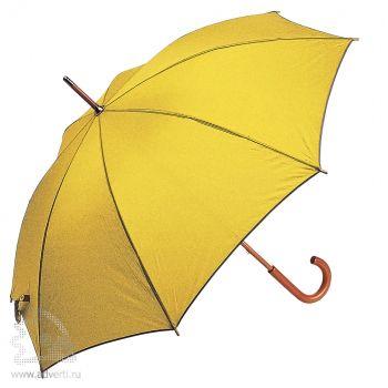 Зонт-трость с деревянной ручкой, полуавтомат, желтый