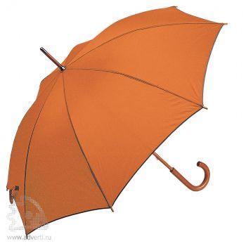 Зонт-трость с деревянной ручкой, полуавтомат, оранжевый