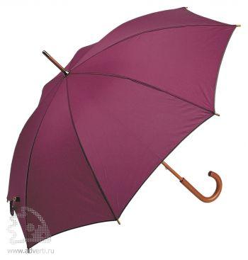 Зонт-трость с деревянной ручкой, полуавтомат, бордовый