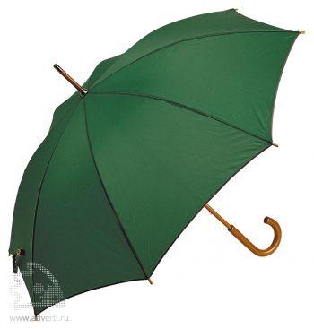 Зонт-трость с деревянной ручкой, полуавтомат, зеленый