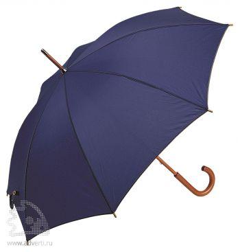 Зонт-трость с деревянной ручкой, полуавтомат, темно-синий