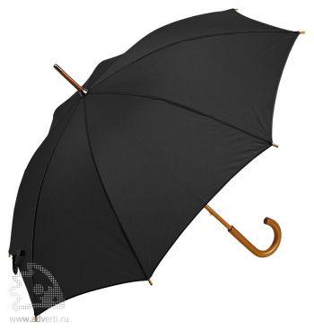 Зонт-трость с деревянной ручкой, полуавтомат, черный