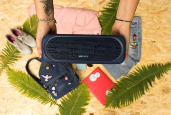 Беспроводная колонка Sony SRS-40, синяя, в интерьере