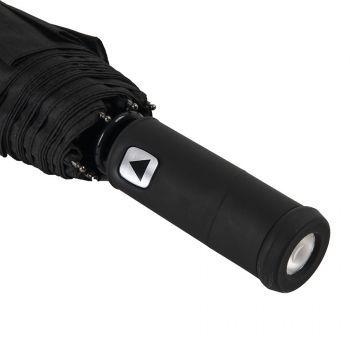 Зонт складной «Preston» с ручкой-фонариком, полуавтомат, прорезиненная ручка