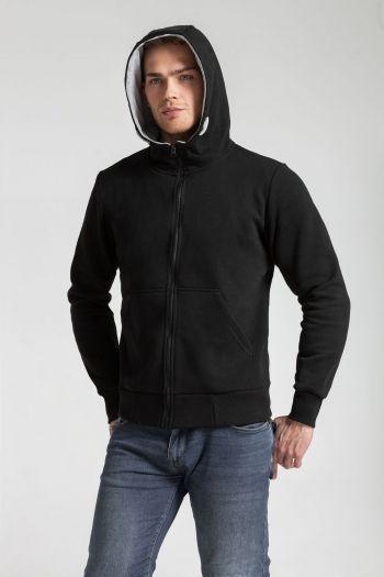 Толстовка «Kulonga Heavy Zip», мужская, чёрная, пример носки с капюшоном
