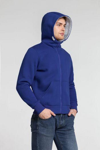 Толстовка «Kulonga Heavy Zip», мужская, синяя, пример носки с капюшоном