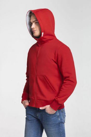 Толстовка «Kulonga Heavy Zip», мужская, красная, пример носки с капюшоном