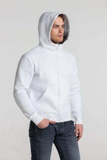 Толстовка «Kulonga Heavy Zip», мужская, белая, пример носки с капюшоном