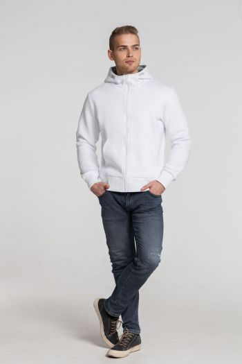 Толстовка «Kulonga Heavy Zip», мужская, белая, пример носки