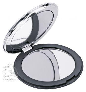 Круглое складное зеркало «Отражение», черное, в открытом виде