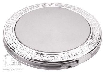 Круглое складное зеркало «Отражение», серебристое, в закрытом виде
