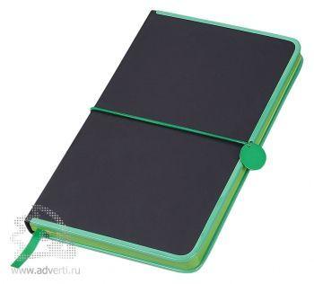 Блокнот А5 «Color Rim», черный с зеленым