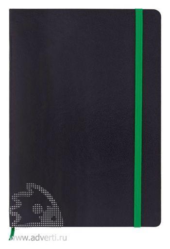 Блокнот А5 «Жанто», черный с зеленым, анфас