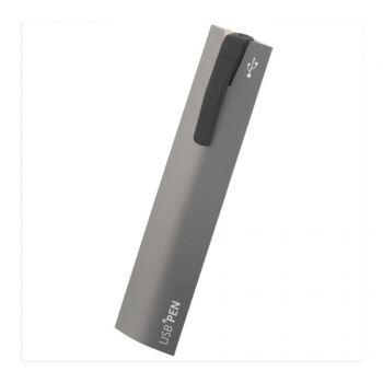 Ручка с флеш-картой USB 16GB «TURNUSsofttouch M» Klio Eterna, черная, в упаковке