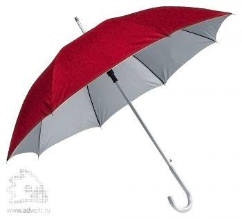 Зонт-трость с алюминиевой ручкой «Silver», полуавтомат, красный