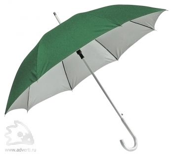 Зонт-трость с алюминиевой ручкой «Silver», полуавтомат, зеленый
