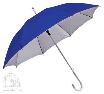 Зонт-трость с алюминиевой ручкой «Silver», полуавтомат, синий