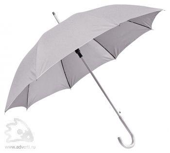 Зонт-трость с алюминиевой ручкой «Silver», полуавтомат, серый