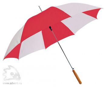 Зонт-трость с деревянной ручкой, полуавтомат, красный