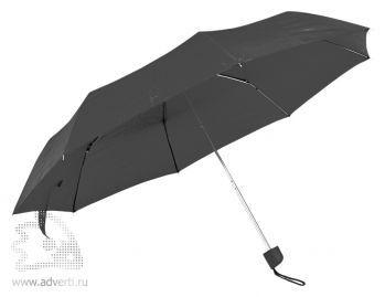 Зонт складной с пластиковой ручкой, механический, черный
