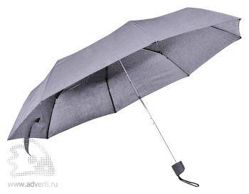 Зонт складной с пластиковой ручкой, механический, серый