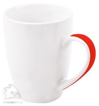 Кружка «Good Day» с цветной полосой на ручке, красная