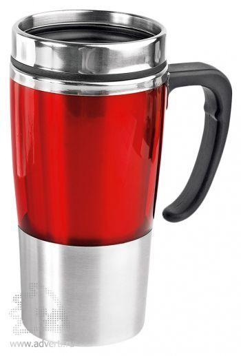 Кружка с термоизоляцией «Чаепитие», красная