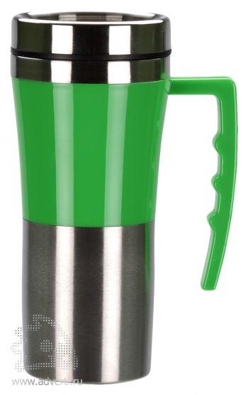 Яркая кружка с термоизоляцией «Адель», зеленая