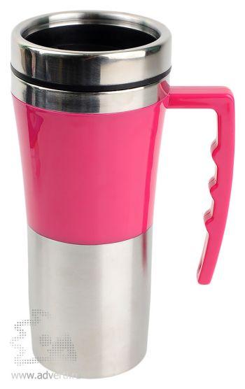 Яркая кружка с термоизоляцией «Адель», розовая