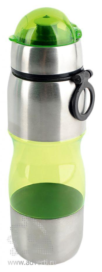 Полупрозрачная спортивная бутылка «Движение», зеленая