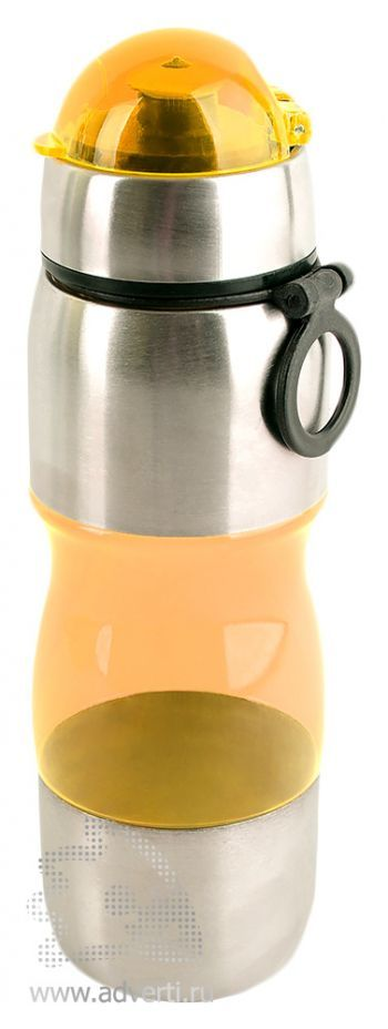 Полупрозрачная спортивная бутылка «Движение», оранжевая
