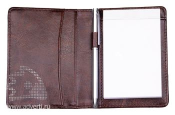 Блокнот для записей  в футляре с ручкой, внутренний блок