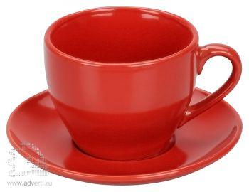 Чайная пара: чашка на 220 мл с блюдцем, красная