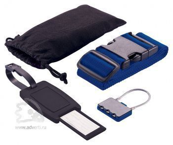 Набор для путешествий: бирка, кодовый замок, фиксирующий ремень для багажа в чехле , черный/синий