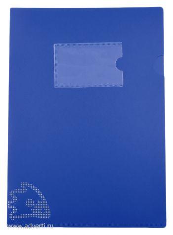 Папка-уголок А4 с карманом для визитки, синяя