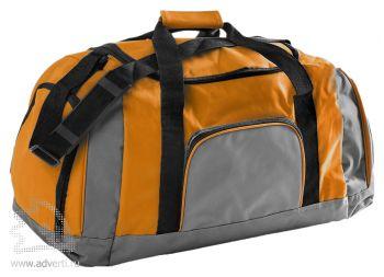 Дорожная сумка с одним отделением и тремя карманами. оранжевая