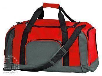 Дорожная сумка с одним отделением и тремя карманами, красная
