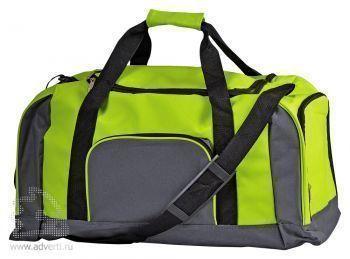 Дорожная сумка с одним отделением и тремя карманами, зеленая