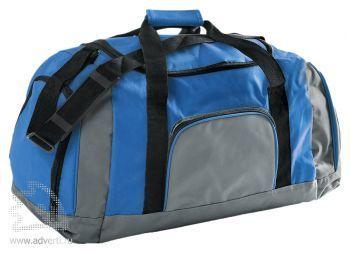 Дорожная сумка с одним отделением и тремя карманами. голубая