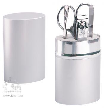 Маникюрный набор «Агата» в алюминиевом тубусе, серебристый, в открытом виде