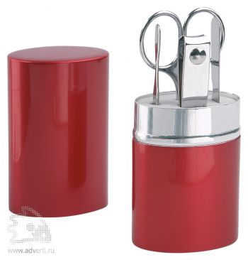 Маникюрный набор «Агата» в алюминиевом тубусе, красный, в открытом виде