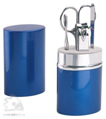 Маникюрный набор «Агата» в алюминиевом тубусе, синий, в открытом виде
