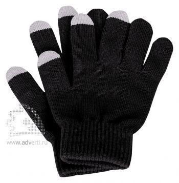 Перчатки для сенсорного экрана «Сет», черные с серым