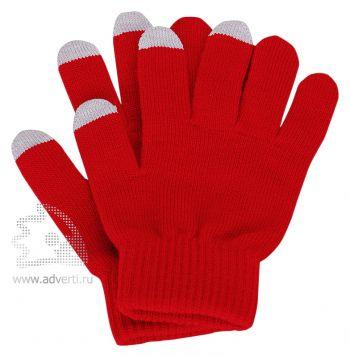 Перчатки для сенсорного экрана «Сет», красные с серым